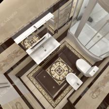 дизайн интерьера ванной комнаты совмещенной +с туалетом