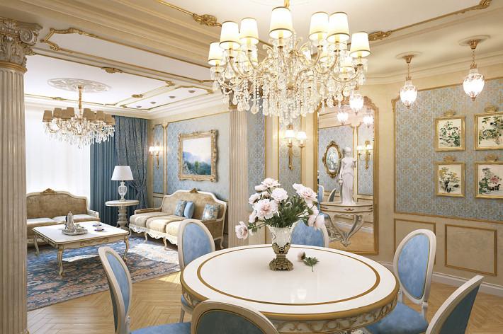 Дизайн интерьера гостиной в классическом стиле. вид 1.