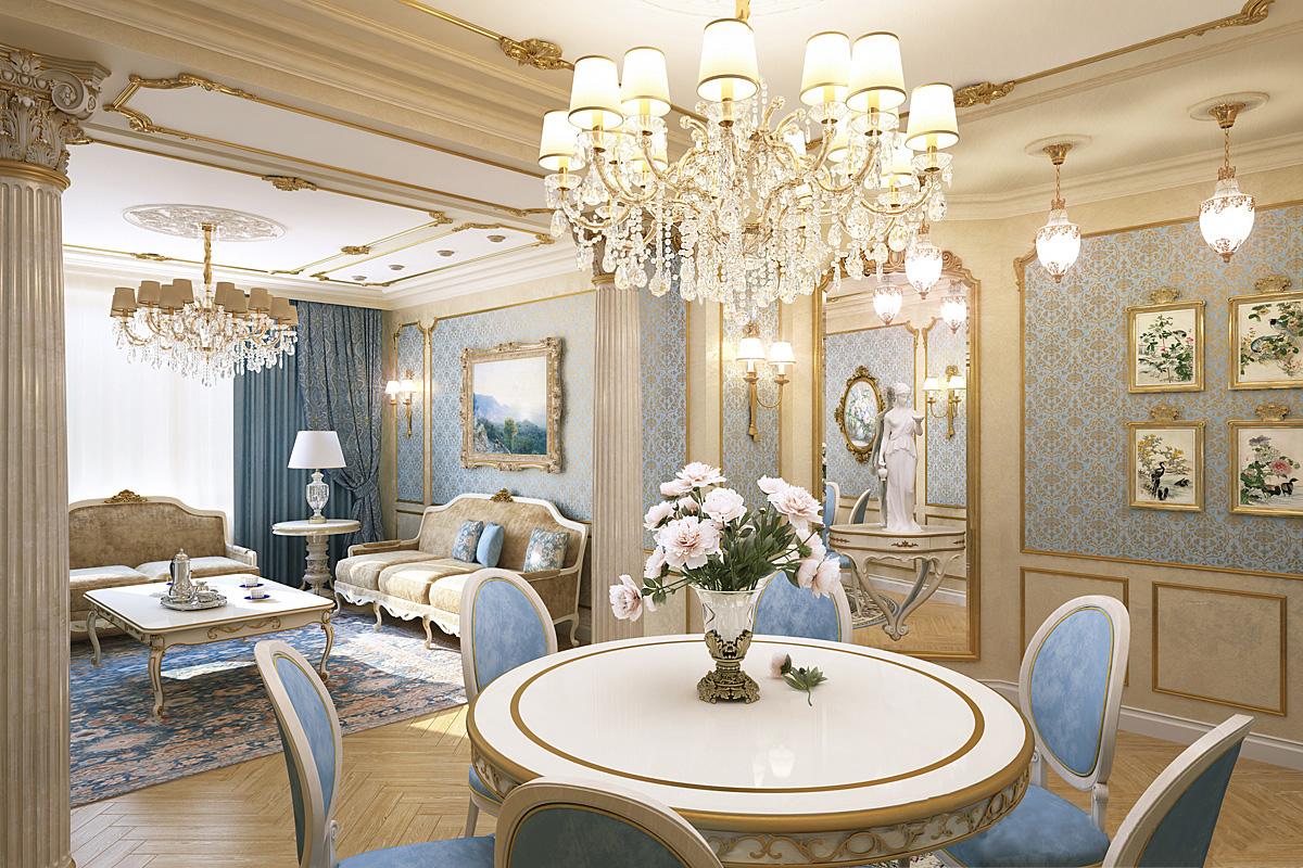 нем классический интерьер квартиры в светлых тонах Аксенов Валерий