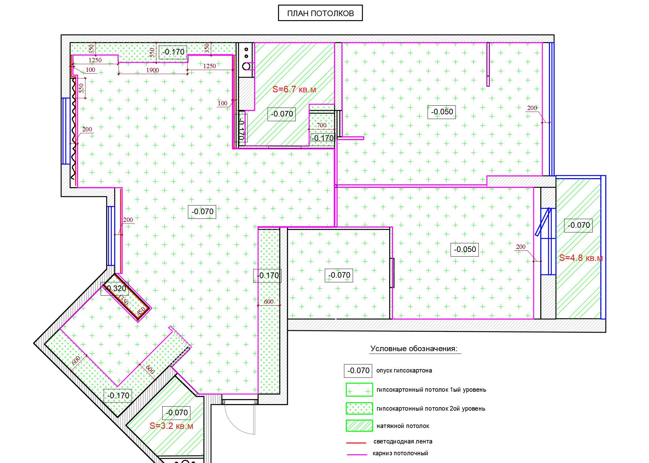 план потолков в квартире