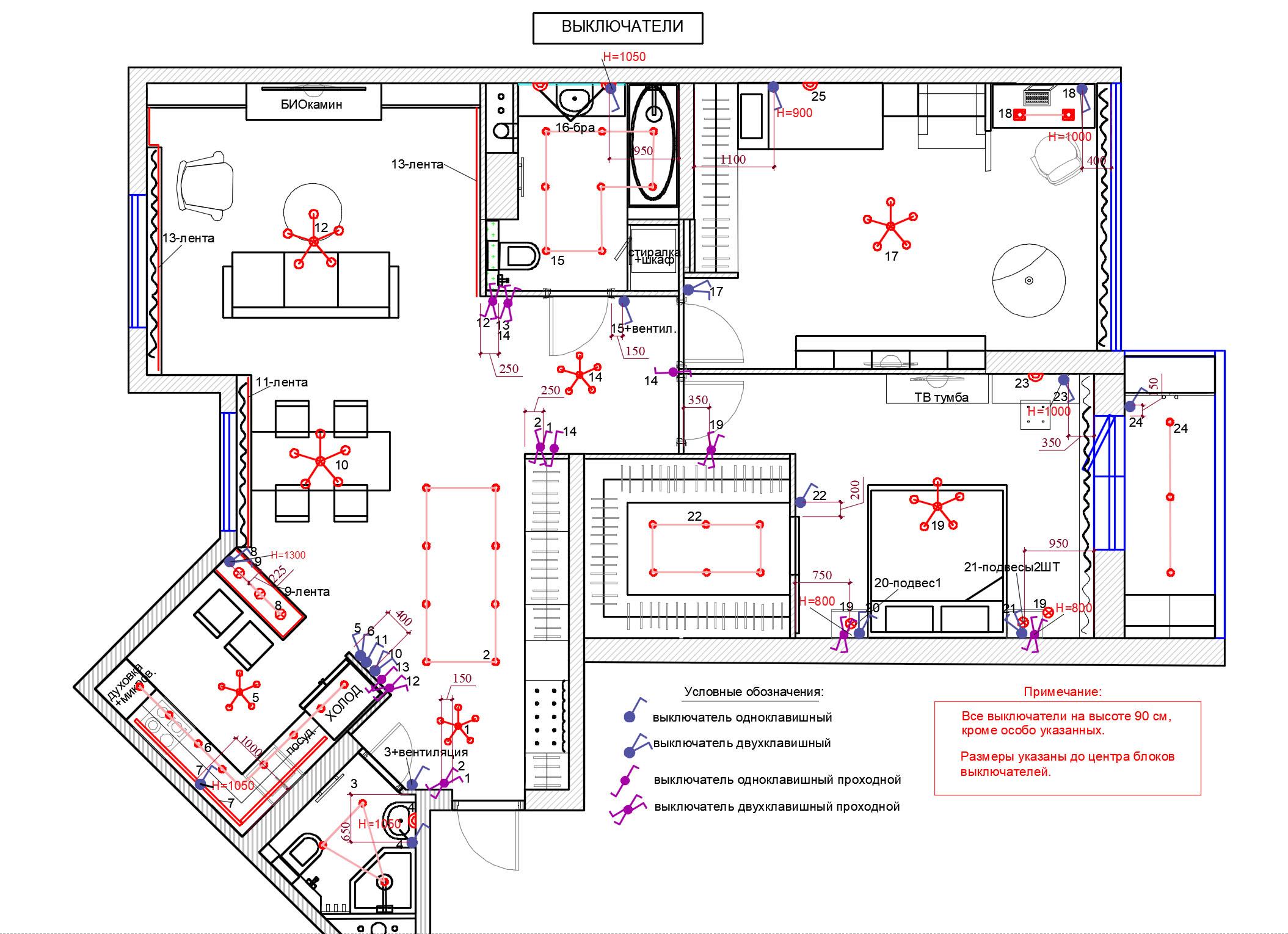план расположения выключателей