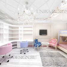 современная спальня для двух девочек в стиле неоклассика