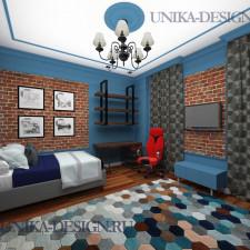 современная спальня в стиле лофт с красным и белым кирпичем