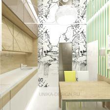кофейно-бежевая кухня с обоями в яркую плоску