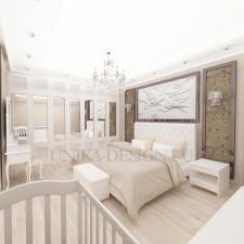 бежевая спальня в стиле неоклассика с белой мебелью